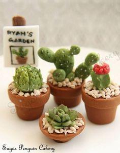 mini gateaux cactus Cactus Cupcakes, Succulent Cupcakes, Flower Cupcakes, Cactus Cake, Mini Cakes, Fancy Cakes, Baking Cupcakes, Cupcake Cookies, Amazing Cakes