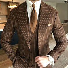 Plaid Suit, Pinstripe Suit, Tuxedo Wedding, Wedding Suits, Wedding Tuxedos, Striped Wedding, Mens 3 Piece Suits, Mens Suits, Brown Suits