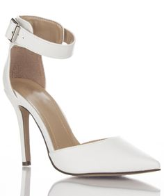 Women's Faux Leather Pointy Toe Ankle Strap Kitten Heel Pumps WHITE PU #Breckelle #PumpsClassics