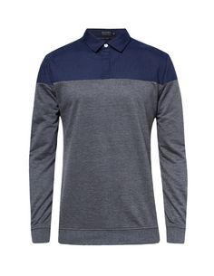 Mixed Fabric Sweater Shirt by ZALORA. Sweater shirt with two tone color, made from polyester, long sleeves, regular fit, simple sweater shirt with navy blue and gray color combination, perfect to complete your casual look. http://www.zocko.com/z/JJpTm