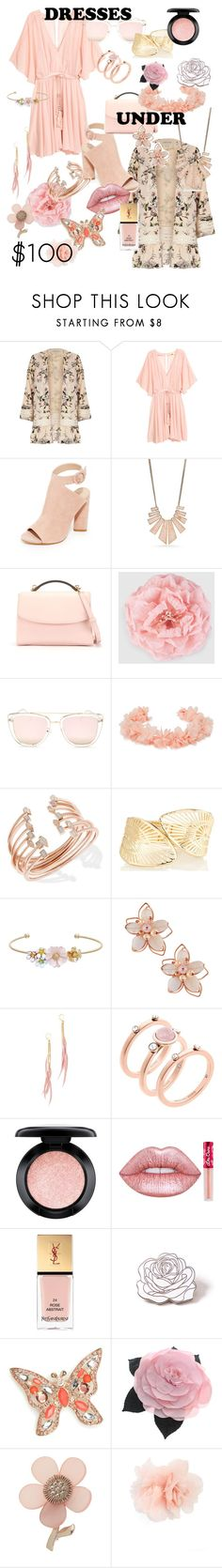 """Bohemian Pink Flow"" by hipsterchic100 ❤ liked on Polyvore featuring River Island, Kendall + Kylie, New Directions, Cynthia Rowley, Gucci, Quay, AURA Headpieces, Kendra Scott, LC Lauren Conrad and NAKAMOL"