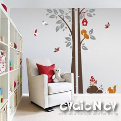 OMG! I LOVE....Children Wall Decal Wall Sticker - Squirrels On the Tree with Birds and Birdhouse - PLWD020L