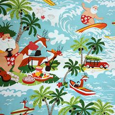 Surfin' Santa in Blue from the Whimsical Christmas collection by Alexander Henry fabrics.  $8.75/yd