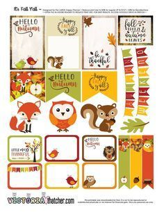 Free Printable stickers for your planner. Owl, fox, squirell stickers with borders and banners - autumn / fall colour scheme To Do Planner, Free Planner, Planner Pages, Happy Planner, Planner Ideas, Planner Supplies, Printable Planner Stickers, Free Printables, Planner Organization