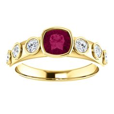 14kt Yellow Gold 5mm Center Cushion Garnet Ring (Color:Redddish Purple, Quality: AA) and 6 Accent Diamonds (Color:I-J, Clarity: I1)...(ST71749:886:P).! Price: $629.99 #diamonds #ring #gold #bezelring #fashion #jewelry