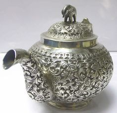 Antique Colonial Silver Teapot - waxantiques online gallery of antique silver  Probably Kutch. Circa 1890.