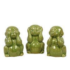 Ceramic 3 Piece Monkey Set in Yellow Green