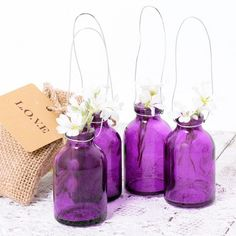 Set mini botellas de cristal para colgar - morado