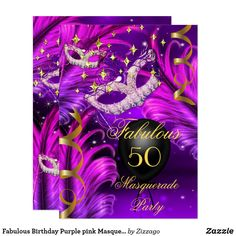Shop Fabulous Birthday Purple pink Masquerade mask Invitation created by Zizzago. Elegant Birthday Party, Gold Birthday Party, Fabulous Birthday, Pink Birthday, Birthday Woman, 50th Birthday, Masquerade Party Invitations, Holiday Party Invitations, Birthday Invitations