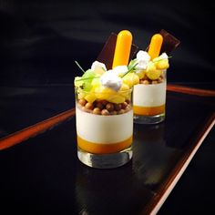 Passion Fruit gelee, Coconut Panna Cotta, dulcey pearls , Passion Fruit cremeux, tropical Fruits, Mango and malibu #bachour #bachoursimplybeautiful