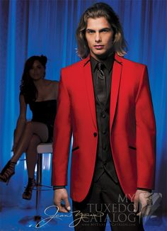 Red 'Illusion' Tuxedo from http://www.mytuxedocatalog.com/catalog/rental-tuxedos-and-suits/C963-Red-Illusion-Tuxedo/