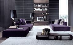 luxury modern purple living room design with grey and white