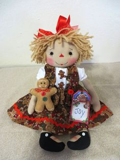 "14"" Primitive Raggedy Ann gingerbread dress stitch face 3"" gingerbreadman & tag #NaivePrimitive"