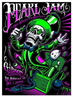 Pearl Jam (with Ben Harper) Classic rock music concert poster psychedelic Hippie Style Tour Posters, Band Posters, Retro Posters, Music Artwork, Art Music, Art Hippie, Hippie Style, Pearl Jam Posters, Graffiti