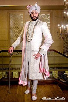 Photo By Puneet & Nidhi - Groom Wear Sherwani For Men Wedding, Wedding Dresses Men Indian, Sherwani Groom, Couple Wedding Dress, Wedding Outfits For Groom, Groom Wedding Dress, Wedding Wear, Bride Groom, Indian Groom Dress