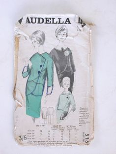 Maudella suit pattern: 5168, Bust 43in Hip 38in, 10 pieces. Suit pattern. Paper sleeve with thin paper pattern inside, details of dress sizes on the back of sleeve.