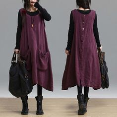 Big Pocket Loose Fitting Long Maxi Dress  Purple Red  by deboy2000, $74.00