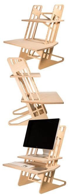 Adjustable height, CNC plywood, table top standing desk. Designed and made in the UK. Available directly from helmm.co for £235 with free UK delivery (international delivery also available).