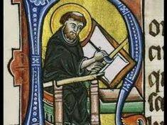 Buchmalerei mittelalter met een ganzenveer.