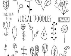Doodle Flowers Clipart and Vectors - hand drawn flower and leaf doodles / sketch - nature / foliage / botanical drawings - commercial use - Lettering & Co. Doodle Sketch, Doodle Drawings, Doodle Doodle, Doodle Images, Doodle Borders, Sketch Art, How To Sketch, Drawing Sketches, Sketching