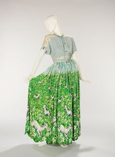 Gilbert Adrian - Whimsical 'patio dress' with gambolling lambs print, 'suitable for outdoor entertaining'. 1942.