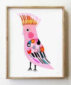 Often called the Pink Cockatoo, the Major Mitchell cockatoo is named. Bird Illustration, Illustrations, Modern Prints, Fine Art Prints, Pink Cockatoo, Deco Pastel, Kids Prints, Bird Art, Nursery Art