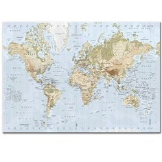 map of the world vintage map of the world the world on mercator 39 s projection large map. Black Bedroom Furniture Sets. Home Design Ideas