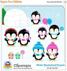Penguin Clipart / Winter penguin wonderland digital clipart / Penguin Clip art / Winter Penguins Clipart For personal and comercial use   ** INSTANT