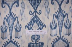 Robert Allen Khandar Ikat Type Print Drapery Fabric in Indigo $14.95 per yard Ikat Fabric, Buy Fabric, Drapery Fabric, Printing On Fabric, Ikat Curtains, Cotton Fabric, Blue And White Fabric, White Fabrics, Ikat Pattern