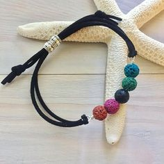 Rainbow Stone Bracelet  Leather Stone Bracelet  Oil Diffuser