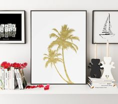 Gold Foil Print, California Art, Palm Print, Palm Tree Art, Palm Wall Art, California Wall Art, California Wall Print, Grey Home Decor
