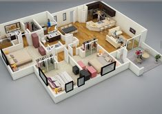 25 More 3 Bedroom Floor Plans Ture Design-Simple 3 Bedroom House Plans With Garage South Africa 3d House Plans, House Plans With Photos, Simple House Plans, House Layout Plans, 3 Bedroom Floor Plan, Three Bedroom House Plan, 3 Bedroom House, Kids Bedroom, Bedroom Apartment