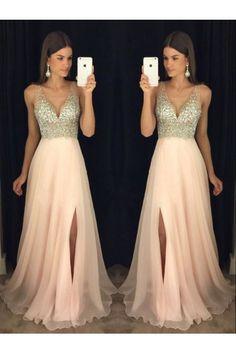 Evening Dresses Pink Prom Dress V-neck V Neck Evening Dresses Long Prom Dress Prom Dresses 2019 Prom Dresses Long Pink, Junior Prom Dresses, A Line Prom Dresses, Beautiful Prom Dresses, Ball Dresses, Dance Dresses, Homecoming Dresses, Pink Dress, Dress Prom