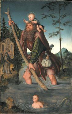 1518 - 20 Lucas Cranach the Elder (German 1472 - Saint Christopher Saint Christopher, Religious Paintings, Religious Art, Catholic Art, Luther, Sainte Cecile, Lucas Cranach, Cool Paintings, Painting Art