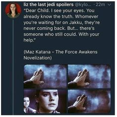 """""""With your help"""" ⬅ JJ Abrams has made the biggest work on Kylo and Rey! He created their relationship in THE FORCE AWAKENS! No one noticed, but there were a lot of hints about these two Characters! JJ will finish in episode IX what he started in episode VII ."""