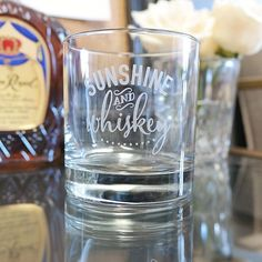 Sunshine & Whiskey Quote Whiskey Glass - (ONE) Hand Etched DOF Whiskey Glass - Double Old Fashioned, Whiskey Girl, Best Friend Gift