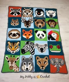 The Wildlife Graphghan is made of 20 corner to corner animal blocks! The Wildlife Graphghan is made of 20 corner to corner animal blocks! Each animal block is available as FREE written inst. Crochet Pixel, Free Crochet, Knit Crochet, Ravelry Crochet, Easy Knitting Projects, Crochet Projects, Manta Animal, Square Patterns, Knitting Charts