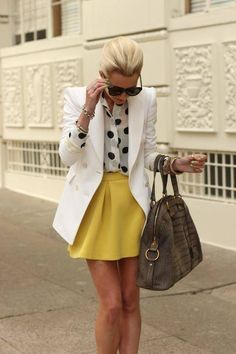 I LOOVE this outfit!! The yellow a-line skirt, black and white polka dotted chiffon blouse and white peacoat are SOOO VERY chic! This outfit is PERFECT for summer!!