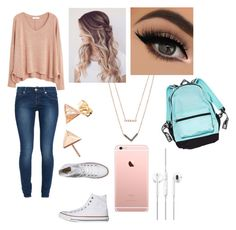 """""""School outfit"""" by imaray98 ❤ liked on Polyvore featuring 7 For All Mankind, MANGO, Converse, Michael Kors, women's clothing, women's fashion, women, female, woman and misses"""