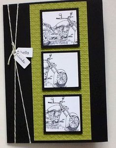Motorcycle handmade card - great for husband or boyfriend