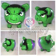 Alcancia chanchito Hulk piggy bank Hulk, Year End Teacher Gifts, Apple Festival, All Superheroes, Arte Country, Kids Room Organization, 3rd Birthday, Art Projects, Art Gallery
