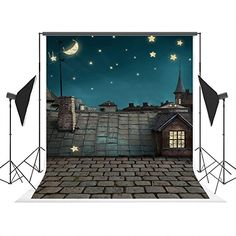 5x7ft (150x210cm) Evening Blue Sky Photo Background Brick Roof Stars Moon Photography Backdrop for Children Studio Backdrops