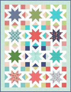 "Star Kisses | Craftsy. A simple fat quarter quilt with 18"" blocks perfect for showcasing large scale fabrics. Modern star quilt. Sawtooth star quilt pattern. Affiliate link with Craftsy."