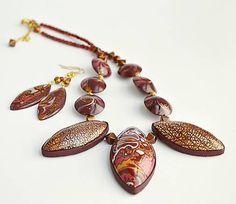 ala / Bordový náhrdelník a náušnice z polymérovej hmoty