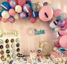 A donut dessert table from a party hosted here at Kidz Lounge. This was definitely a delicious addition🍩 Party Places For Kids, Birthday Party Places, Birthday Themes For Boys, Cool Birthday Cakes, Birthday Parties, Glow Party, Spa Party, Retro Arcade Games, Halloween Party Themes