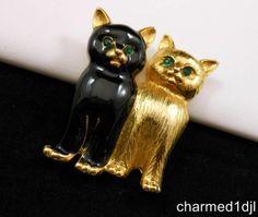 Swarovski Crystal Black Enamel Gold Plated DBL Kitty Cat Brooch Pin Swan Signed $28.00