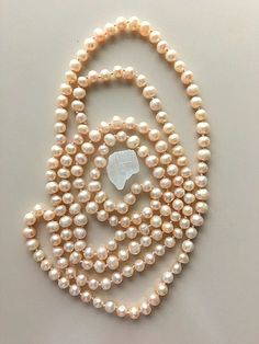 Very Light Peach Color Freshwater Pearls - Long Strand Opera Length - Not Identical by MagicalUniverse on Etsy