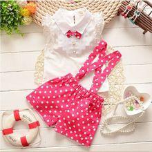 2016 summer baby girls newyear Christmas outfit clothing sets chiffon plaid t-shirt+ overalls pant baby girls clothes set MK29(China (Mainland))