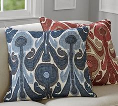 Kenmare Ikat Embroidered Pillow Cover