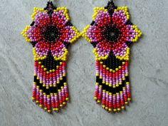 Seed Bead Earrings, Flower Earrings, Beaded Earrings, Seed Beads, Beaded Jewelry, Beaded Bracelets, Art Perle, Earring Tutorial, Diy Jewelry Making